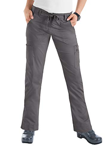 KOI Women's Stretch Lindsey Mid-Rise Drawstring Waist Cargo Scrub Pants, Steel, X-Small - New String Steel