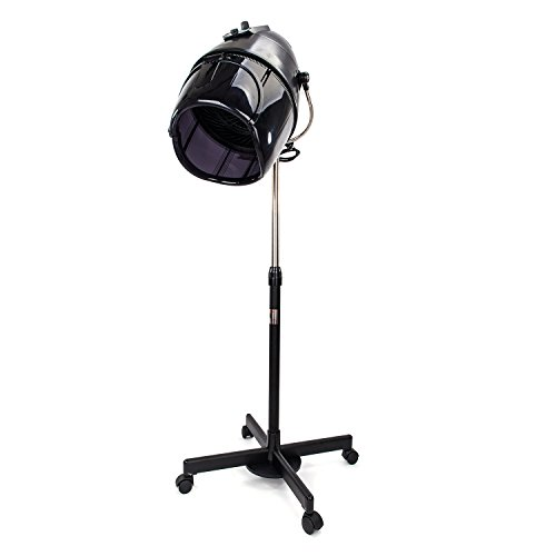 Mefeir Professional Floor Hair Dryer Stand Up with Hood Bonnet & Rolling Wheel, Adjustable Timer Temperature,Hair Cutting Styling Equipment for Barber Shop Salon Beauty Home Use,Black (Best Hair Dryer For Home Use)