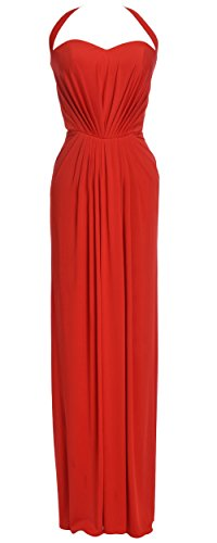 MACloth Women Halter Jersey Long Formal Evening Prom Dress Wedding Party Gown Rojo