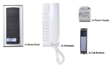 Audio Entry Panel - O9R - FARFISA 1AEXD 4-WAY DOOR ENTRY AUDIO INTERCOM KIT EXHITO-AGORA SURFACE MOUNTED ENTRY PANEL, 4X HANDSETS & 3X CALL BUTTONS