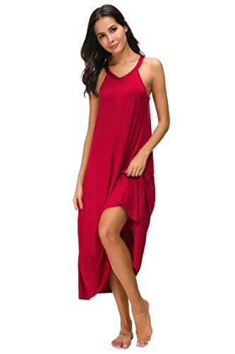 M-anxiu Full Length Nightgown Womens Sleeveless Nightshirt Satin Trim V-Neck Sleepwear(Red, ()