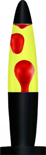 Creative Motion Black Base Liquid Peace Motion Lamp, 16-Inch, Red Wax/Yellow Peace Motion Lamp