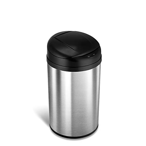 NINESTARS DZT-40-8 Automatic Touchless Infrared Motion Sensor Trash Can, 11 Gal 40L, Stainless Steel Base (Round, Black Lid)