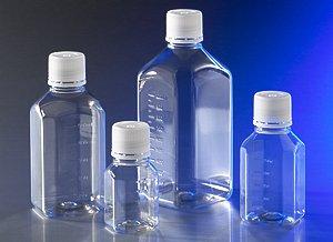 Corning 431734 Polyethylene Octagonal Storage Bottle with 31.7mm Screw Cap, Sterile, 1000ml Capacity (Case of 24)