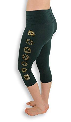 Yoga Pants Leggings Seven Chakra Designs Workout Pants Women's Yoga Pants Fold Over Pants Capris Pants (Emerald Green, Large)