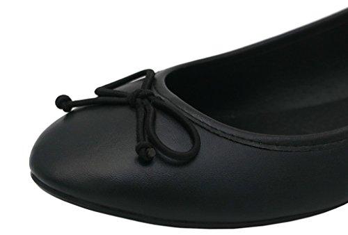 AgeeMi Shoes Mujer Sin Cordones Punta Redonda Sólido Plano con Bowknot Negro