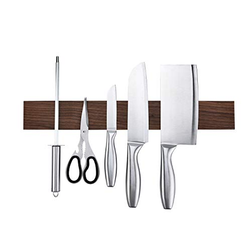 Walnut Magnetic Knife Holder 18 Inch - Wall Mount Wooden Knife Strip, Rack, Bar With Double Row Powerful Magnets, Space-Saving Utensil Organizer by KitchenShark (Image #1)