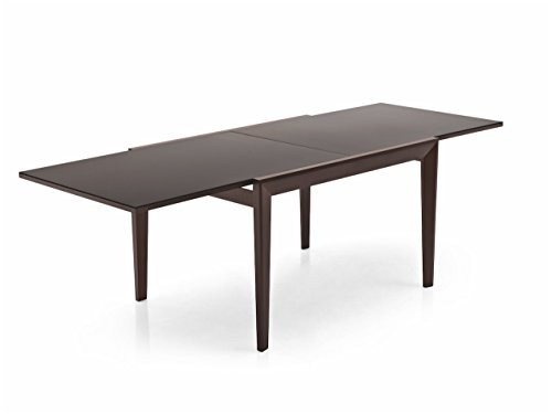Connubia Abaco Extending Table - Tempered Glass Frosted Coffee Top - Beech Wenge Frame - Beech Wenge Legs