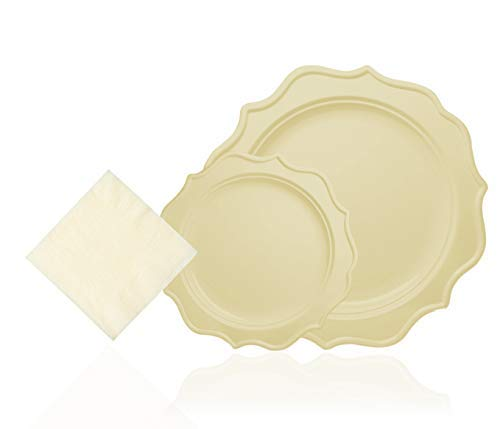 (Tiger Chef 144-Pack Cream Color Round Scalloped Rim Disposable Plastic Plate Set for 48 Guests Includes 48 10-Inch Dinner Plates, 48 8-Inch Salad Plates, 48 Beverage Napkins -)