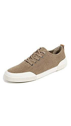 Vince Mens Victor Canvas Low Top Sneakers Flint/Cuoio