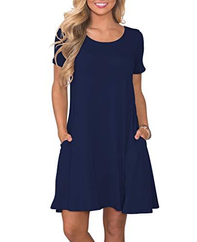 (KORSIS Women's Summer Casual T Shirt Dresses Short Sleeve Swing Dress with Pockets NavyBlue XXXL)