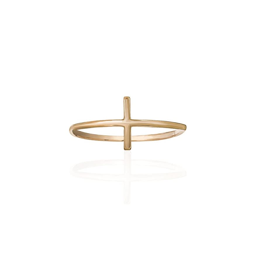 14K Gold Sideways Cross Ring