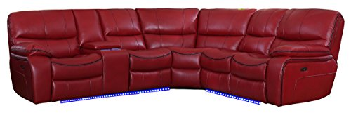 Homelegance Pecos 105 Power Reclining Sectional with LED, Red