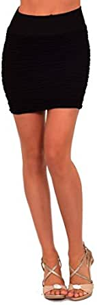 Banded Slip On Soft Knit Textured Evening Clubwear Party Fitted Mini Skirt