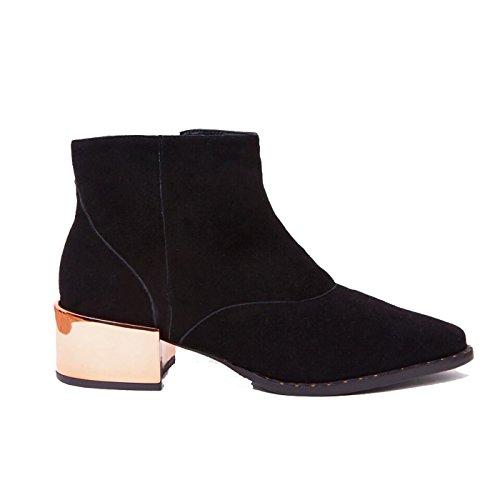 Ivy Kirzhner Cirque2 Black Suede Metallic Pointed Low Riding Designer Ankle Boot UEIsYs