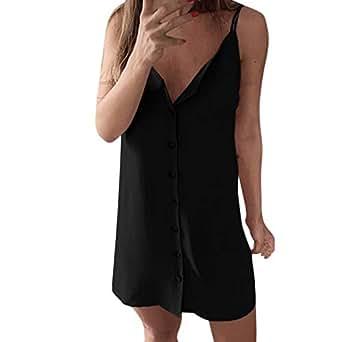 VEMOW Faldas de Mujer Vestido Botones para Mujer de Apertura ...