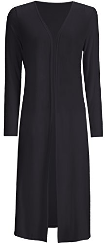 AMGLISE Women's Solid Cotton Essential Long Cascading Open Front Cardigan ()