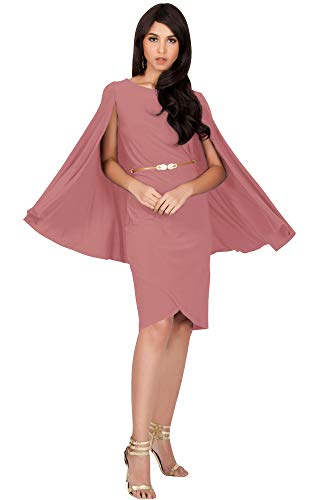 KOH KOH Plus Size Womens Long Cape Batwing Cloak Dolman Sleeve Belt Knee Length Fall Winter Work Tunic Dressy Formal Casual Cocktail Funeral Mini Midi Dress Dresses, Cinnamon Rose Pink XL 14-16