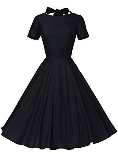 GownTown Womens 1950s Vintage Retro Party Swing Rockabillty Stretchy Dress - XX-Large - Black
