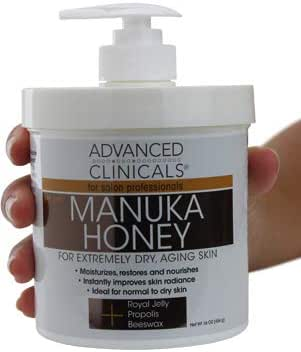 Advanced Clinicals Manuka Honey Cream for Extremely Dry, Aging Skin For Face, Neck, Hands, and Body. Spa Size 16oz. (16oz) (16oz)