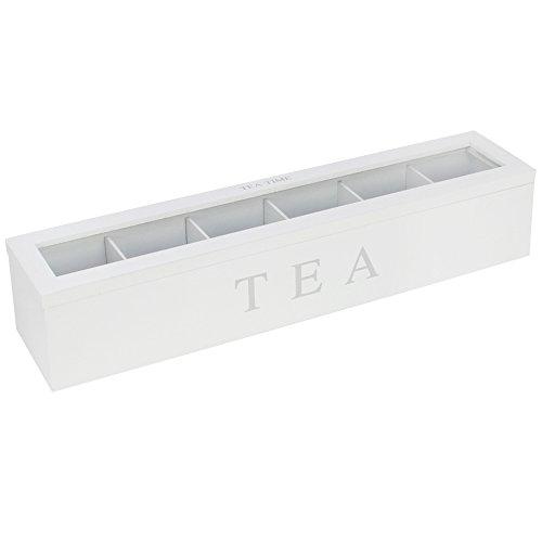 com-four Caja de Almacenamiento de te y bolsitas de te, te Blanco Caja de Madera con 6 Compartimentos y Ventana, 43 x 9 x 8,7 cm (01 Piezas - 43x9x8 7cm Blanco)