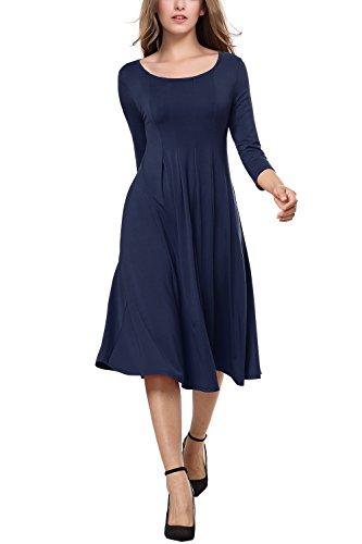 navy 3/4 sleeve midi dress - 3
