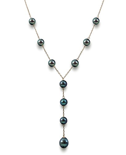 - Belacqua 14k Yellow Gold Black Cultured Freshwater Pearl Y Shaped Station Necklace, 17.5