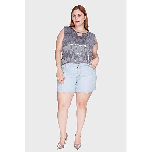 Shorts Delavê Plus Size Azul-46