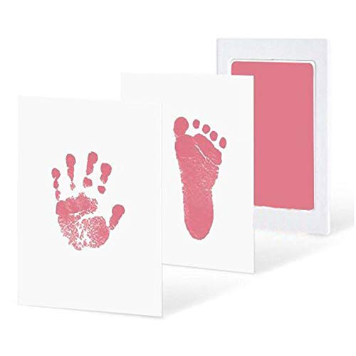 E-dance 3 Pcs/Set No-Mess Ink Baby Footprint & Handprint Ink Pad Safe and Non-Toxic Ink Perfect for New Baby(Pink)]()