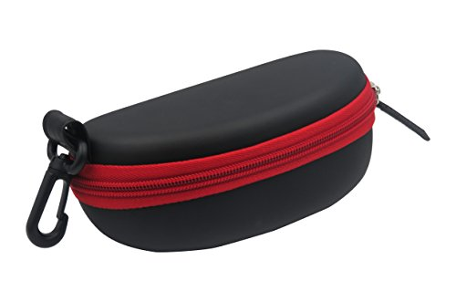 Sports Sunglasses Case - Semi Hard Black Eyeglasses Case with Red Zipper closure and Belt Clip | for Medium to Large Frames | Men & Women | B15HC Black with - Sunglasses Glass Google