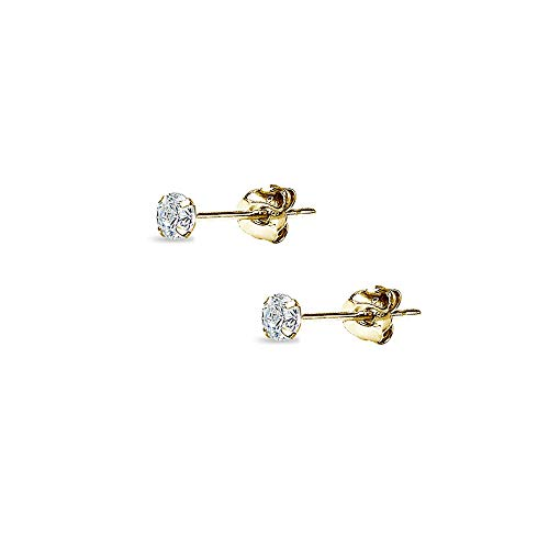 (14K Gold Cubic Zirconia Small 5mm Round Stud Earrings for Men Women Boys Girls)