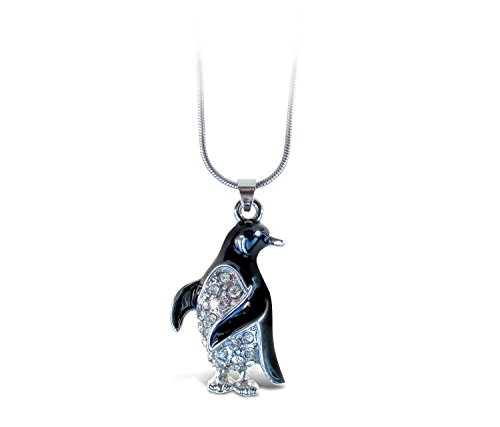 Puzzled Black Penguin Necklace, 18 Inch Fashionable & Elegant Silver Chain Jewelry with Rhinestone Studded Pendant For Casual Formal Attire Ocean Marine Life Themed Girls Teens Women Fashion Neck Acce