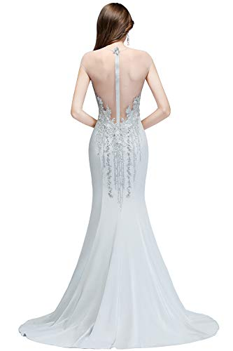 Damen Silber Stickerei Abiballkleider Hochzeit Maxilang mit Ballkleider Etui MisShow für Elegant Abendkleider d4dPH