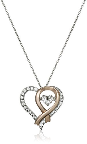 Sterling Silver with Pink Gold Plating Created White Sapphire Heart Dancing Pendant Necklace, 18""