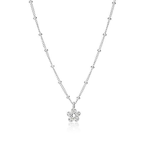 Molly B London 925 Sterling Silver & White Topaz Hadley Flower Necklace for Teenage Girls - Best for Birthday Gift