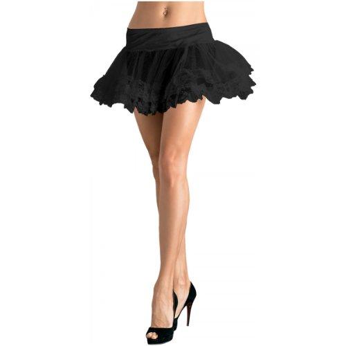 Leg Avenue Women's Lace Trimmed Petticoat Dress, Black, One Size ()