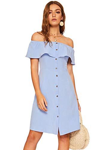 The Shoulder Button Up Summer Ruffle Trim Short Dress Light Blue ()