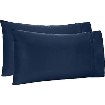 AmazonBasics Light-Weight Microfiber Pillowcases - 2-Pack, King, Navy Blue