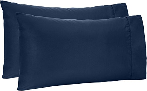 AmazonBasics Microfiber Pillowcases - 2-Pack, King, Navy Blue