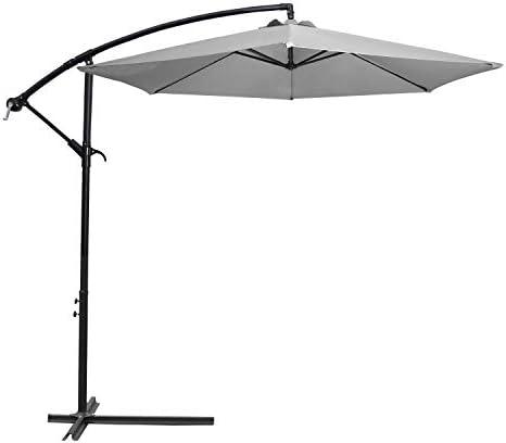 Flamaker Patio Umbrellas Offset Umbrella Cantilever Umbrella Hanging Market Umbrella with Crank Cross for Backyard, Deck and Beach Grey