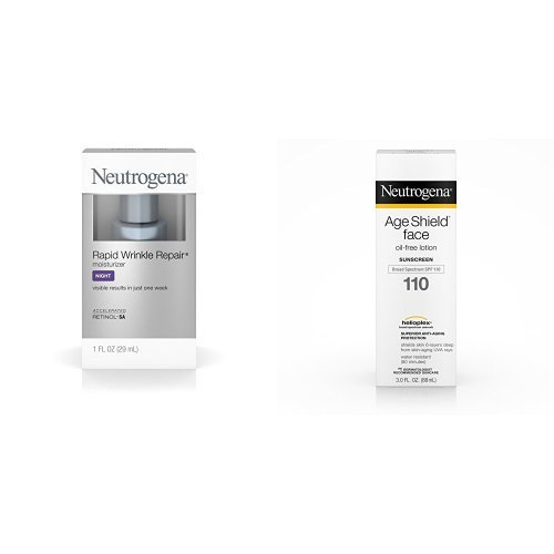 Neutrogena Rapid Wrinkle Repair Anti-Wrinkle Facial Moisturizer, with Age Shield Face Oil-Free Lotion Sunscreen