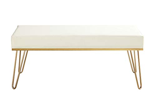 Iconic Home FBH2977-AN Bench PU Leather Upholstered Brass Finished Frame Hairpin Legs, Cream (Upholstered Pin Hair)