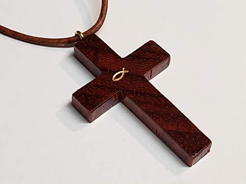 Padauk Wood Cross Necklace w/Adjustable Leather Cord: