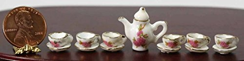 (artisan hand made Dollhouse Miniature Porcelain Petite Rose Tea Set with 14K Gold)