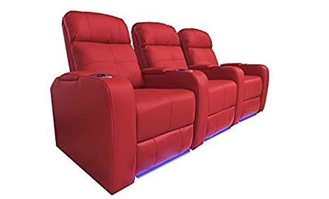 Valencia Verona Premium Top Grain 9000 Leather Power Recliner LED Lighting Home Theater Seating (Row of 3, RED)