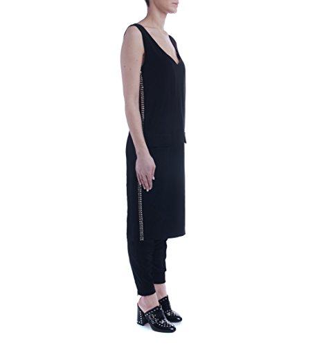 VestidoTwinset en crêpe de viscosa stretch negro con tachuelas Negro