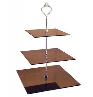 Three Tier Bronze Mirror Square Cake Stands - Large + Silver Handle