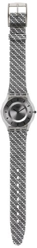 Swatch SFM127 Pure Net Grey Black Ana Dial Fabric/Leather Band Women Watch NEW