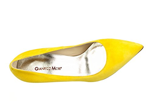 Chaussures cuir Mori Gracie en Femme daim decoltè véritable Jaune Gianrico qTAPgtxq