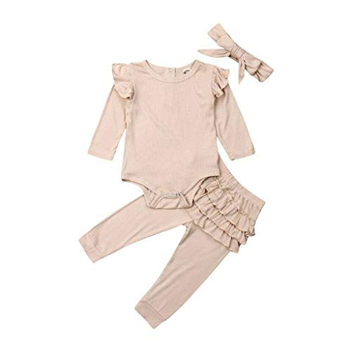 Infant/Newborn Baby Girls Outfits Ruffle Romper Bodysuit and Pleated Tight Pants Clothes with Headband (Beige,6-9 Months)